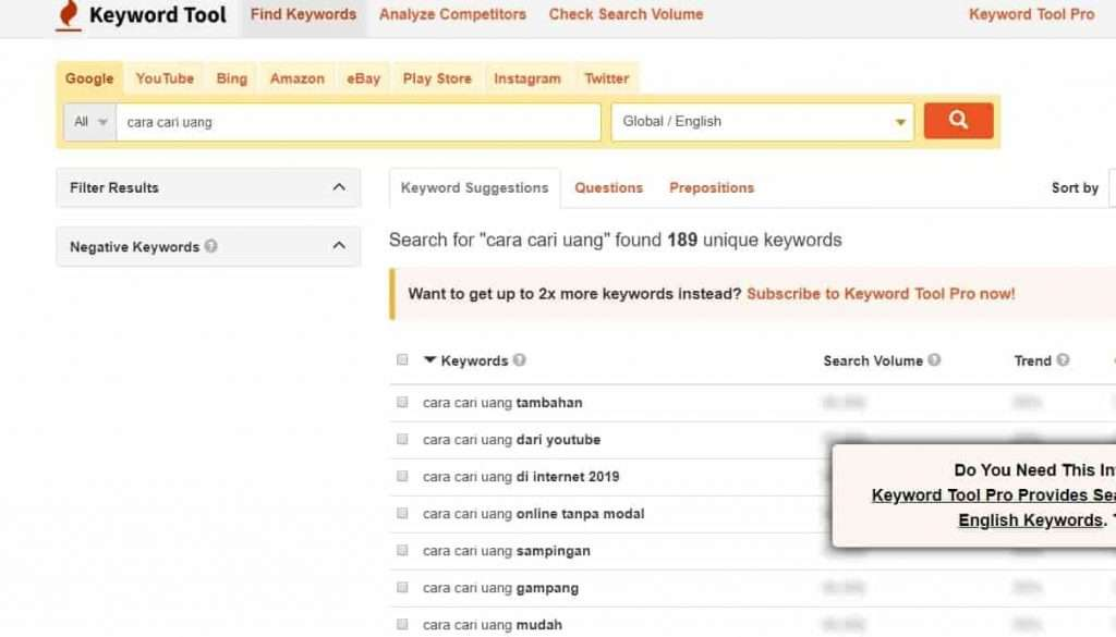 tools riset keyword youtube