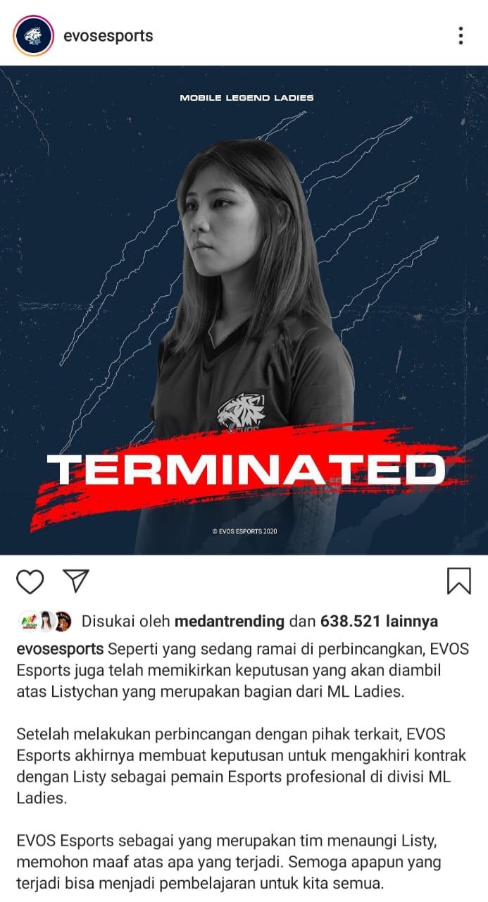 Berita Esport EVOS Resmi Mutus Kontrak Listy Chan