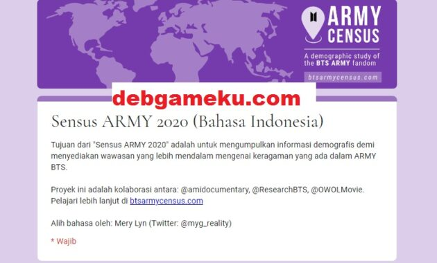 Census Army BTS 2020 Bahasa Indonesia