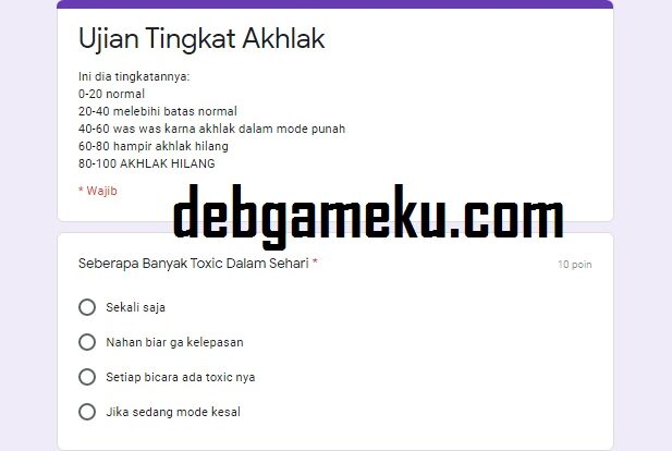 Link Tes Ujian Tingkat Akhlak Kalian Docs Google Form