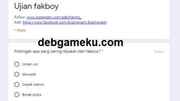 Link Ujian Tes Fakboy Google Form Docs Terpopuler 2020